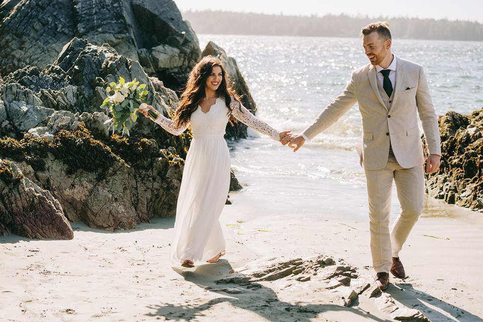 Tofino Elopement Bridal Bouquet by Crab Apple Flowers on Tonquin Beach