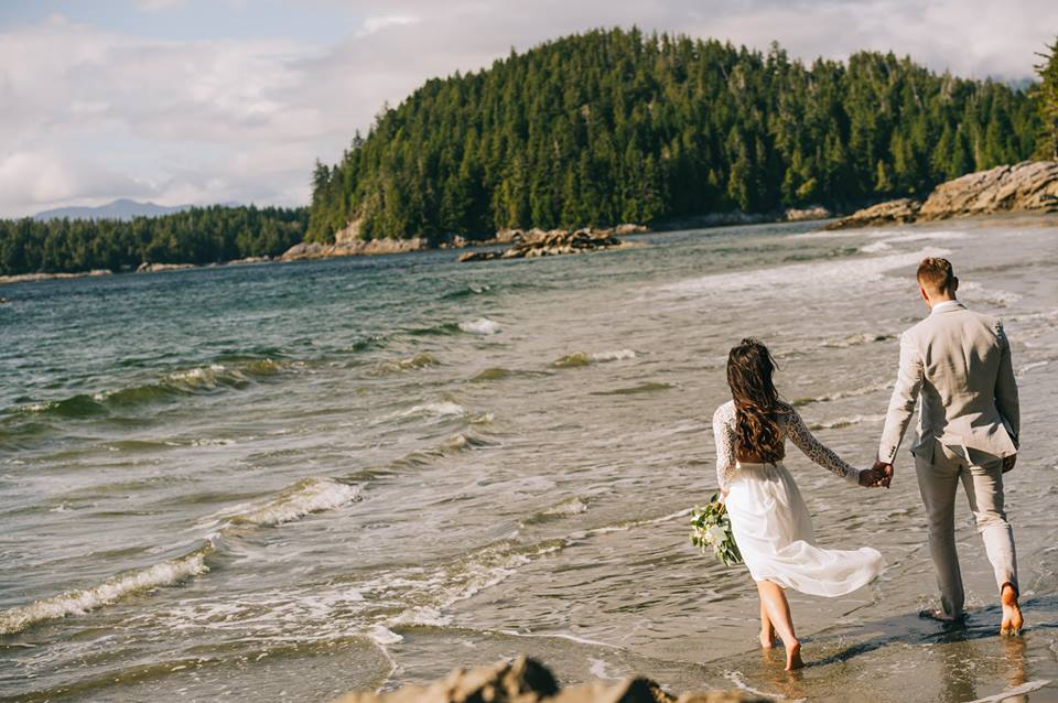 Tofino Elopement Newlyweds on the beach by Wild Coast Love Photography on Vancouver Island