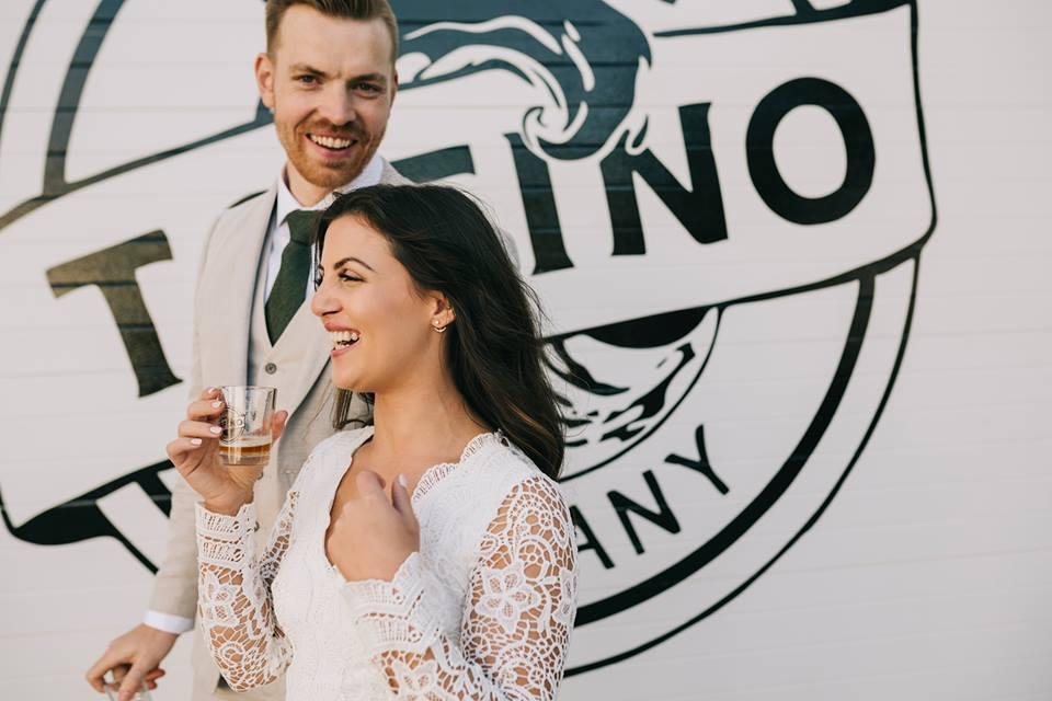Tofino Elopement enjoying drinks at Tofino Brewing Company Vancouver Island Wedding