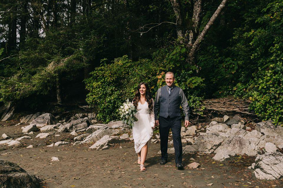 Tofino Elopement Bride Walks to her Ceremony on Vancouver Island