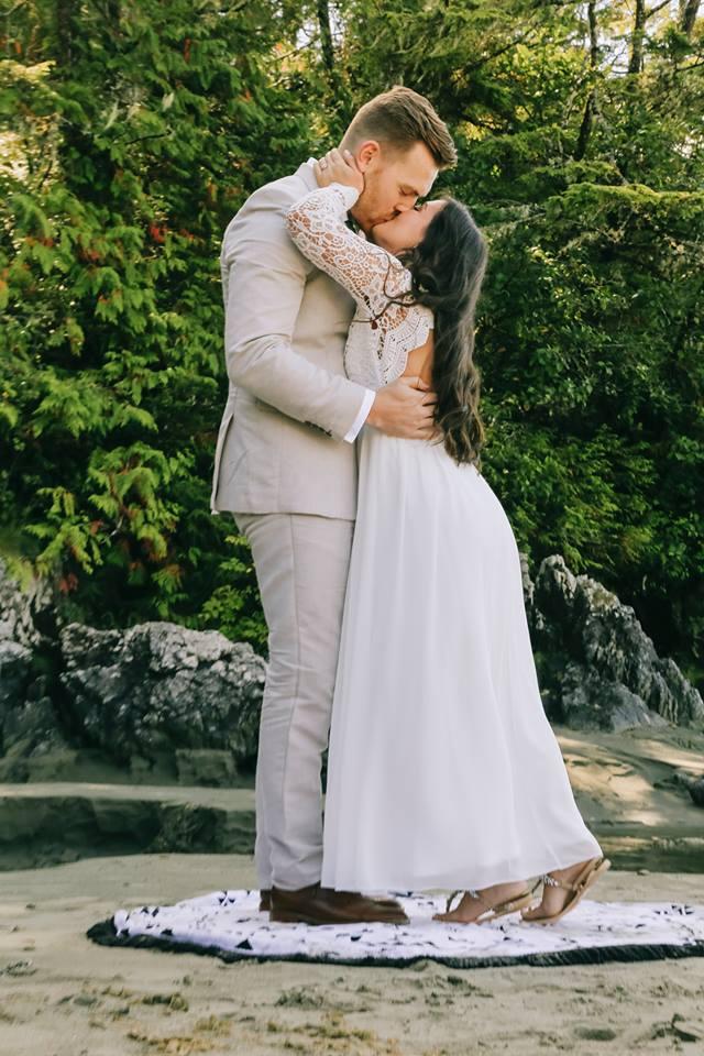 Tofino Elopement Bride in Lulus Wedding Dress on Vancouver Island