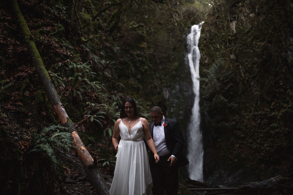 Waterfall and forest in newlywed shoot on Vancouver Island