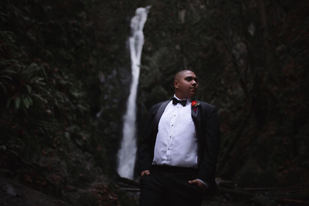Waterfall and groom