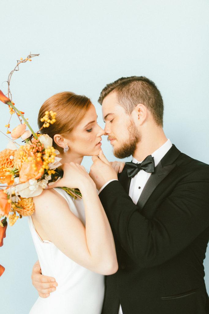 Modern Minimalism Wedding Couple in Bisou Bridal Gown Photography by Mattie C