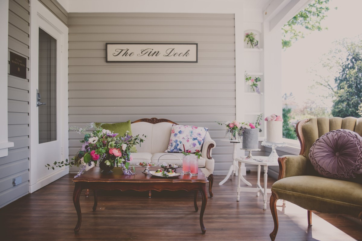 Vintage furniture setting at wedding by Fallen Olive and Three Sisters Photography