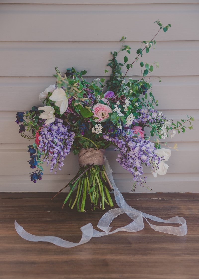 Local Love Bridal Bouquet with purple flowers and ribbon Little Bee Blossoms