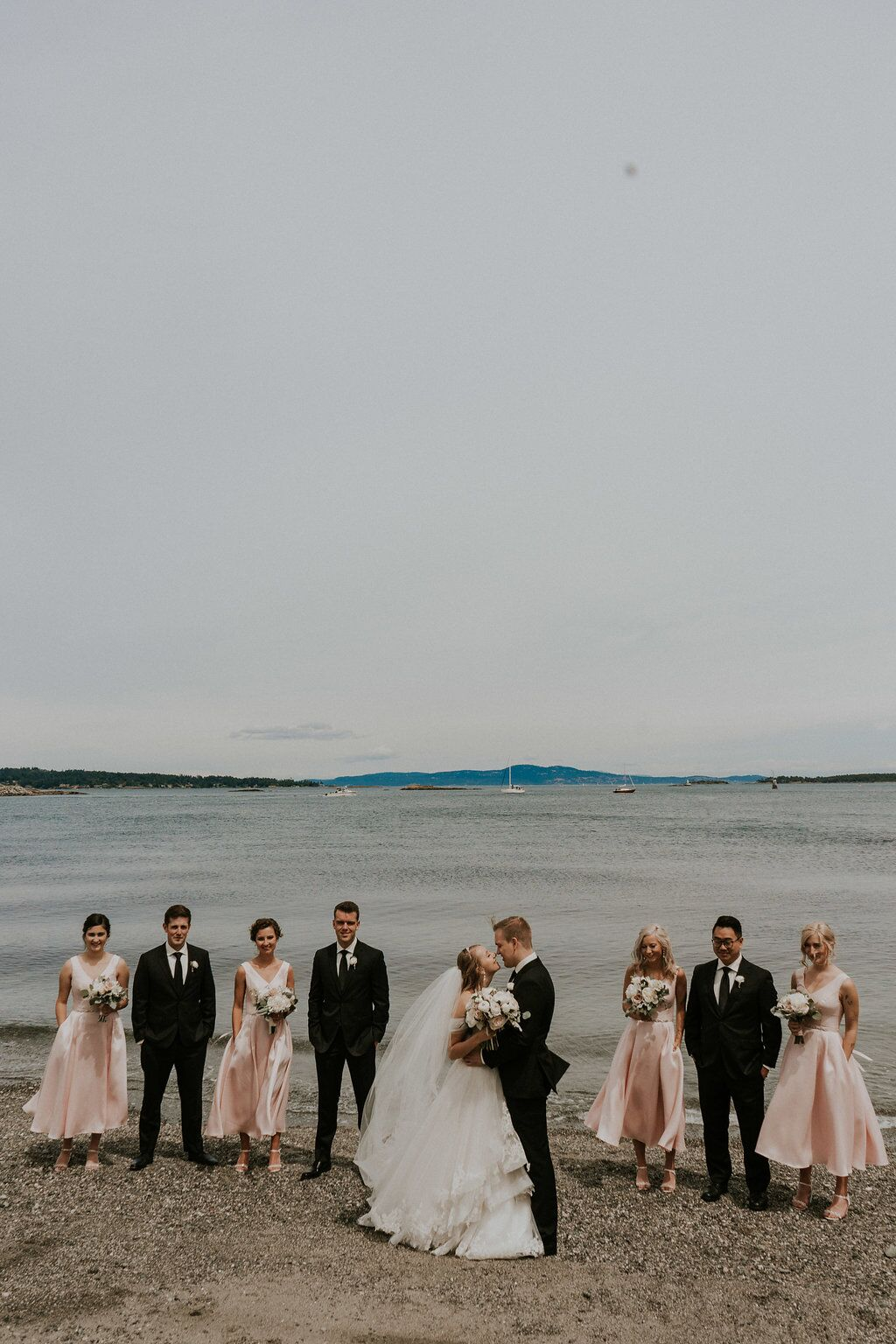 Wedding Party on beach of Vancouver Island