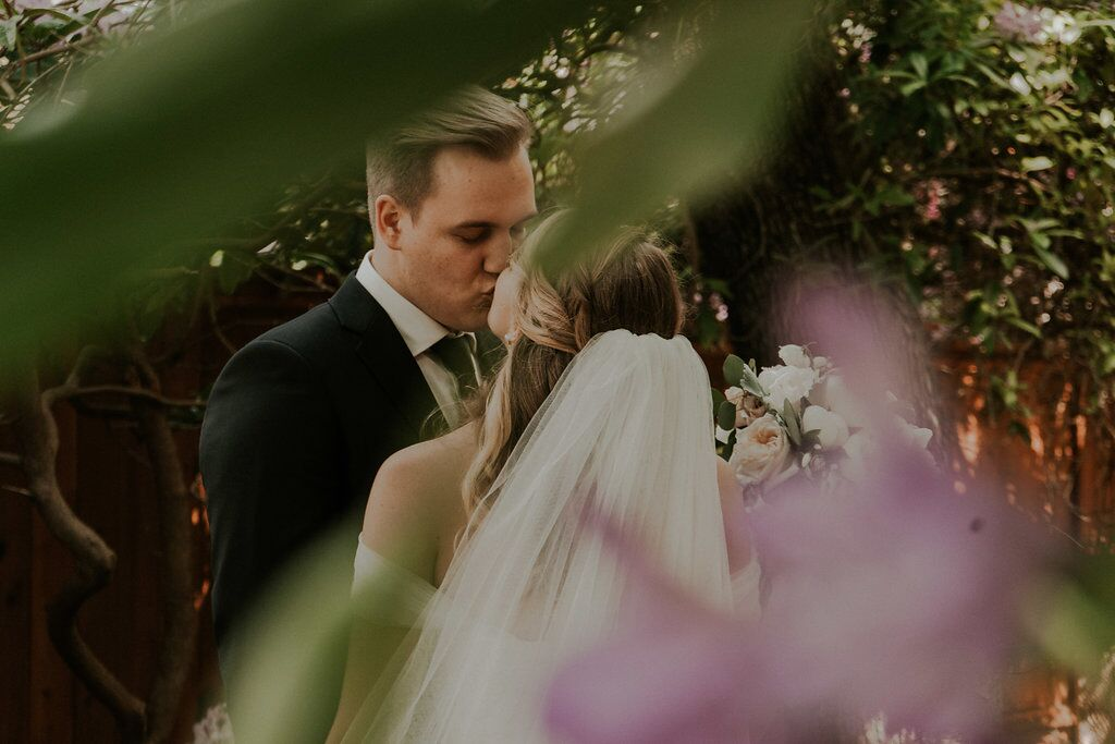 Rpmantic Kiss after wedding ceremony
