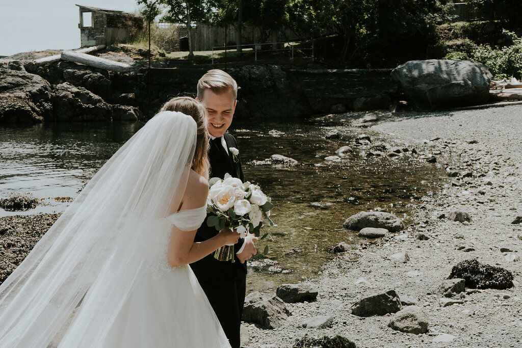 Romantic wedding couple on the Vancouver Island Beach