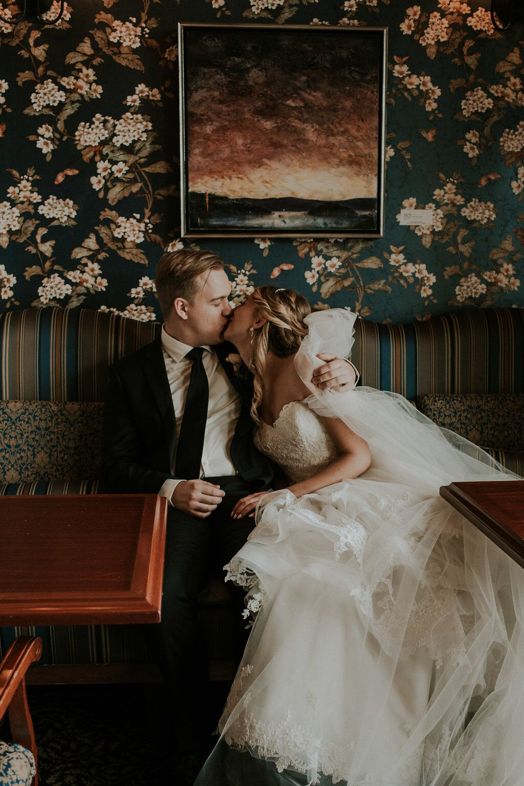 Romantic Wedding Couple kiss at The Snug with bride in Sposa Gown made of lace