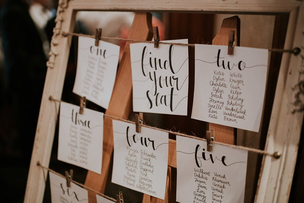 Romantic Seating Chart using string and pins