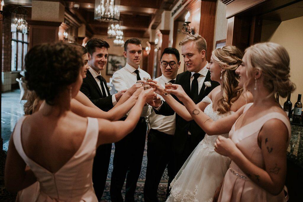 Romantic wedding party toasting the newlyweds Vancouver Island Wedding