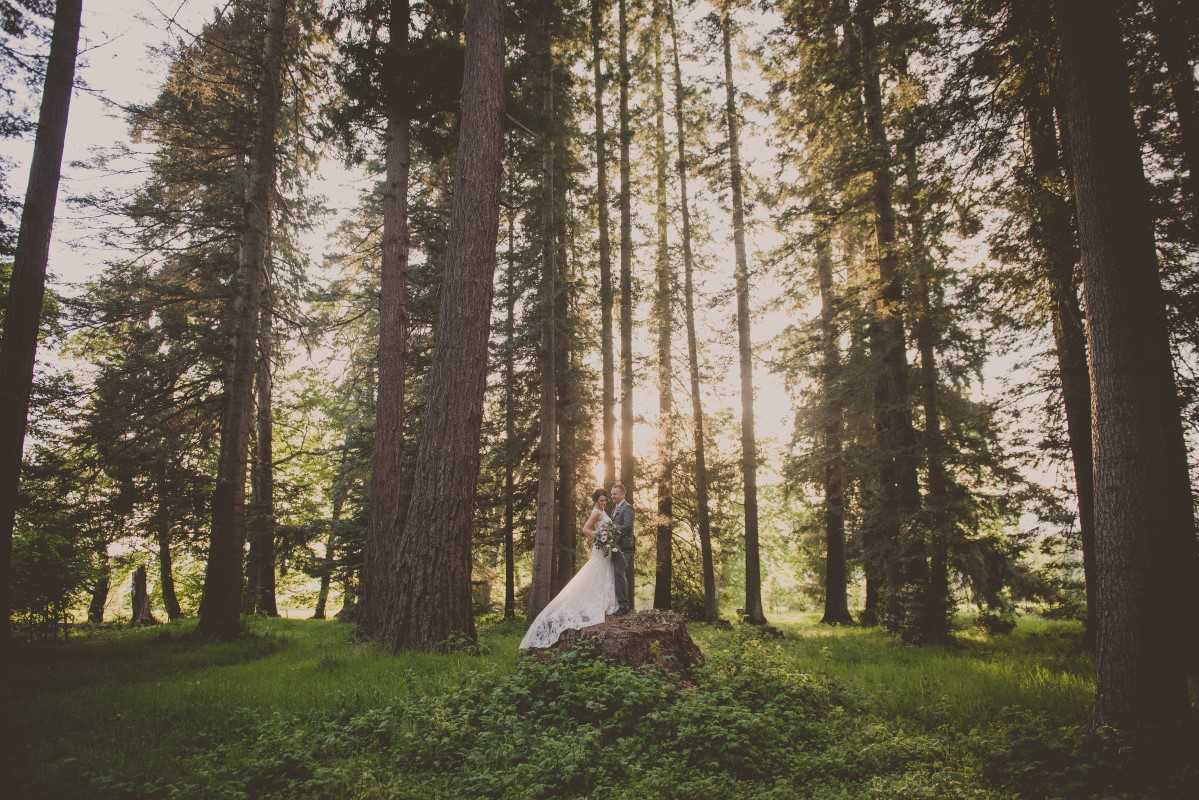 Newlyweds in forest West Coast Weddings Vancouver Island