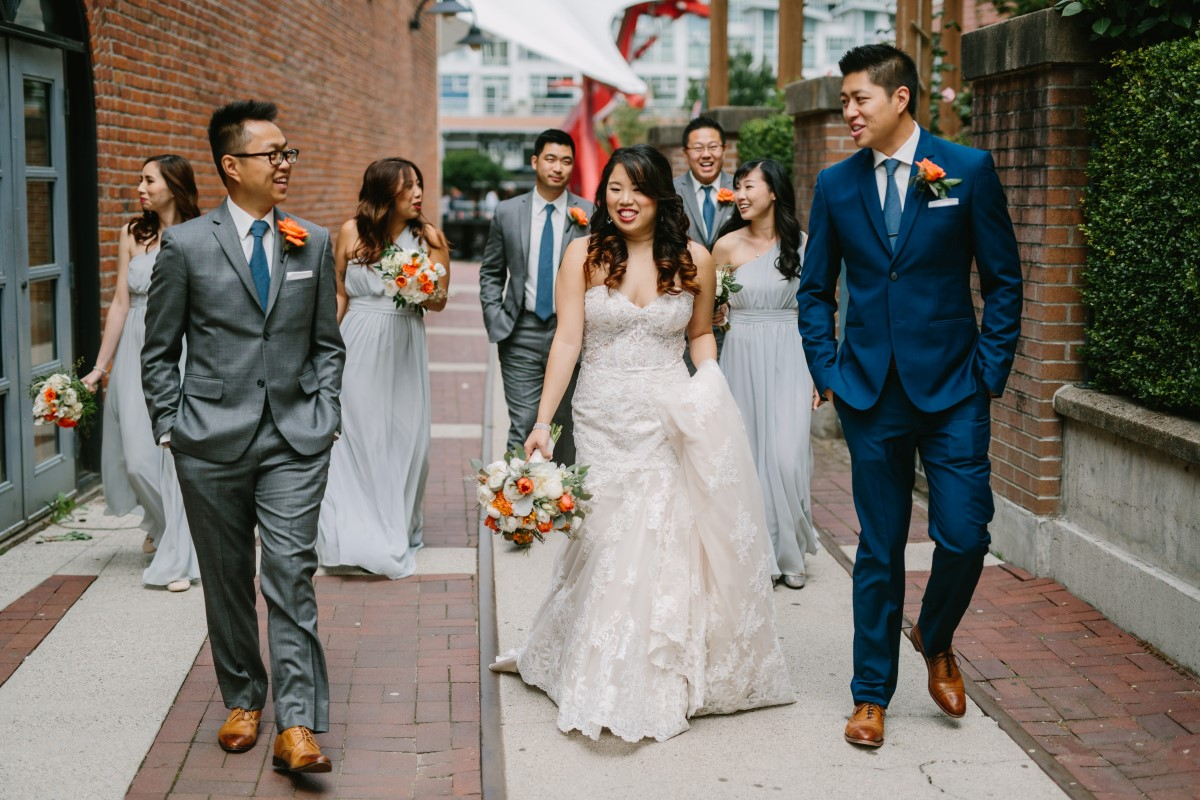 Chinese Fusion Wedding Party walk through Vancouver Street