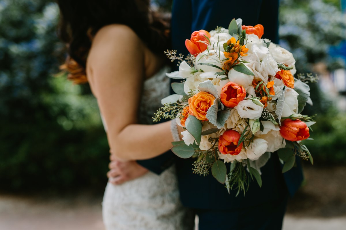 Chinese Fusion Bridal Bouquet Orange Anemones and White Roses by Sunflower Flowers in Vancouver
