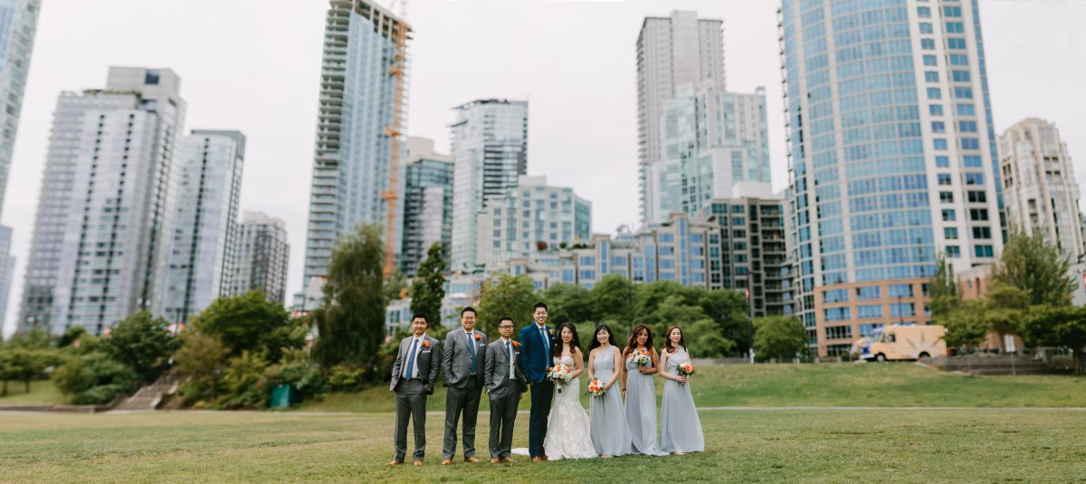 Chinese Fusion Wedding Party with Vancouver Sky Line behind