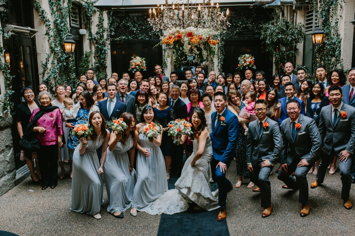 Chinese Fusion Wedding Group Portrait of guests and newlyweds in Vancouver