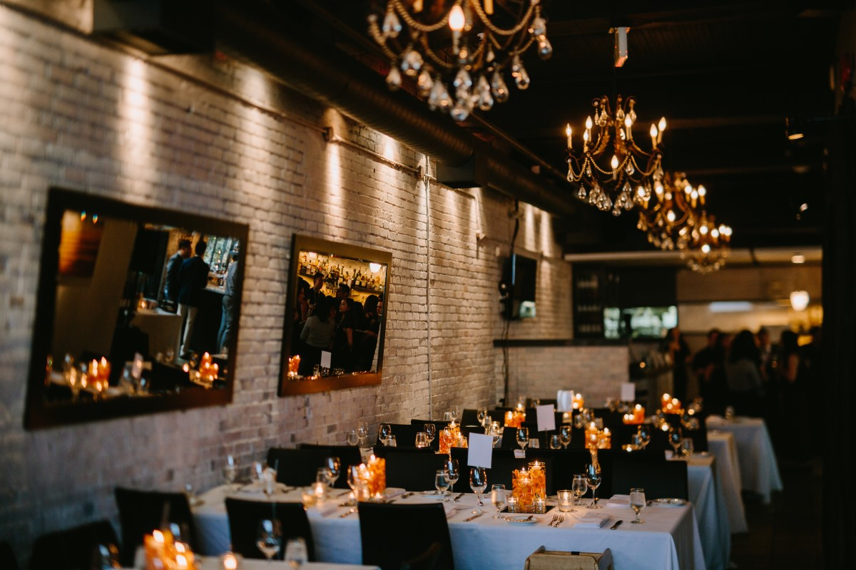 Brix and Morter Wedding Reception Venue chandeliers on ceilings