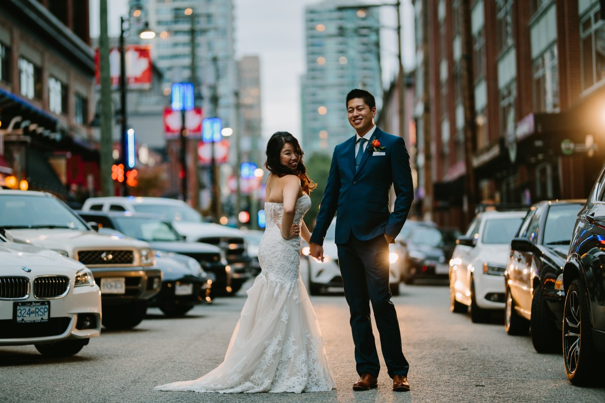 Chinese Wedding Couple on Vancouver street