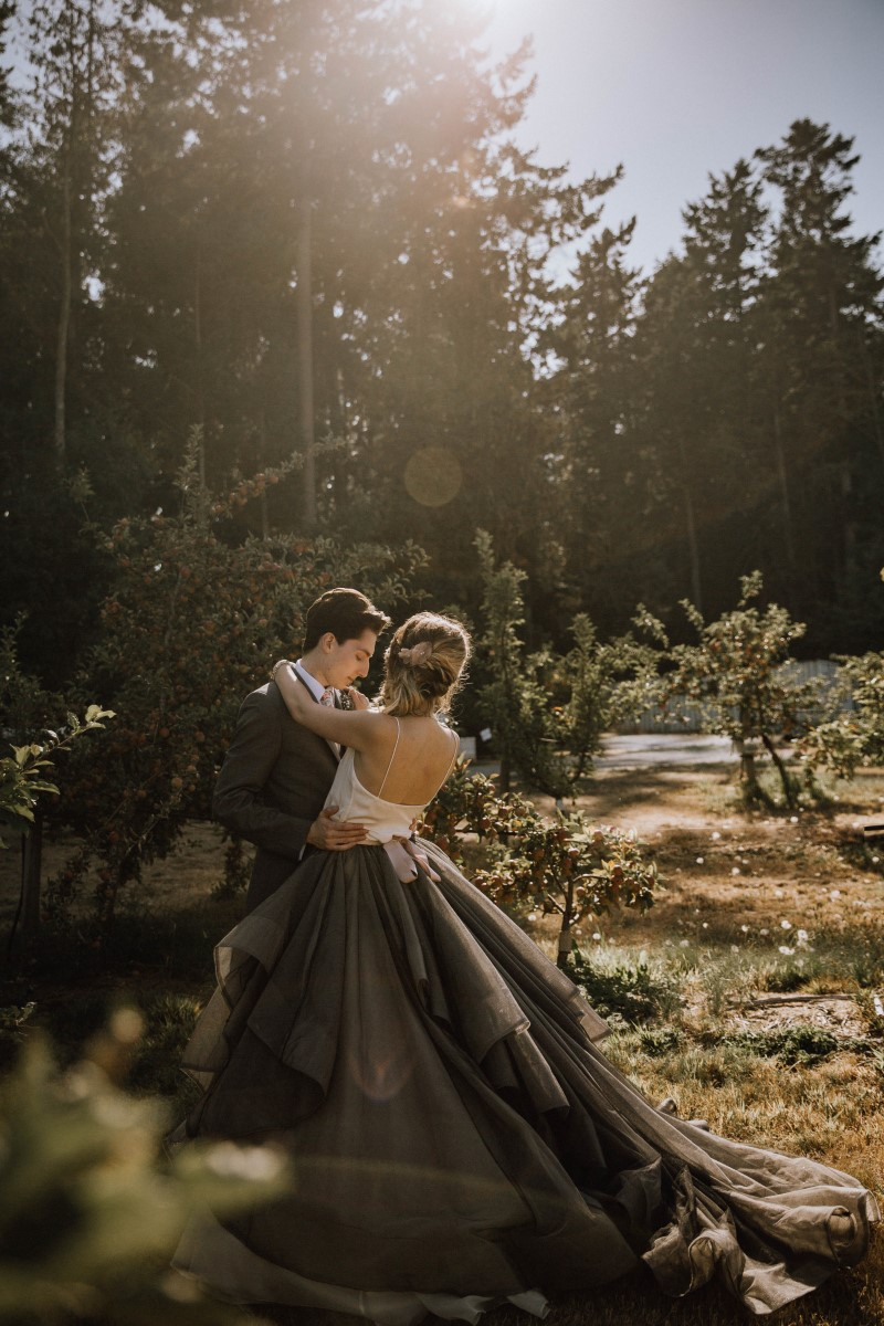 Wedding Couple in Apple Orchard on Vancouver Island