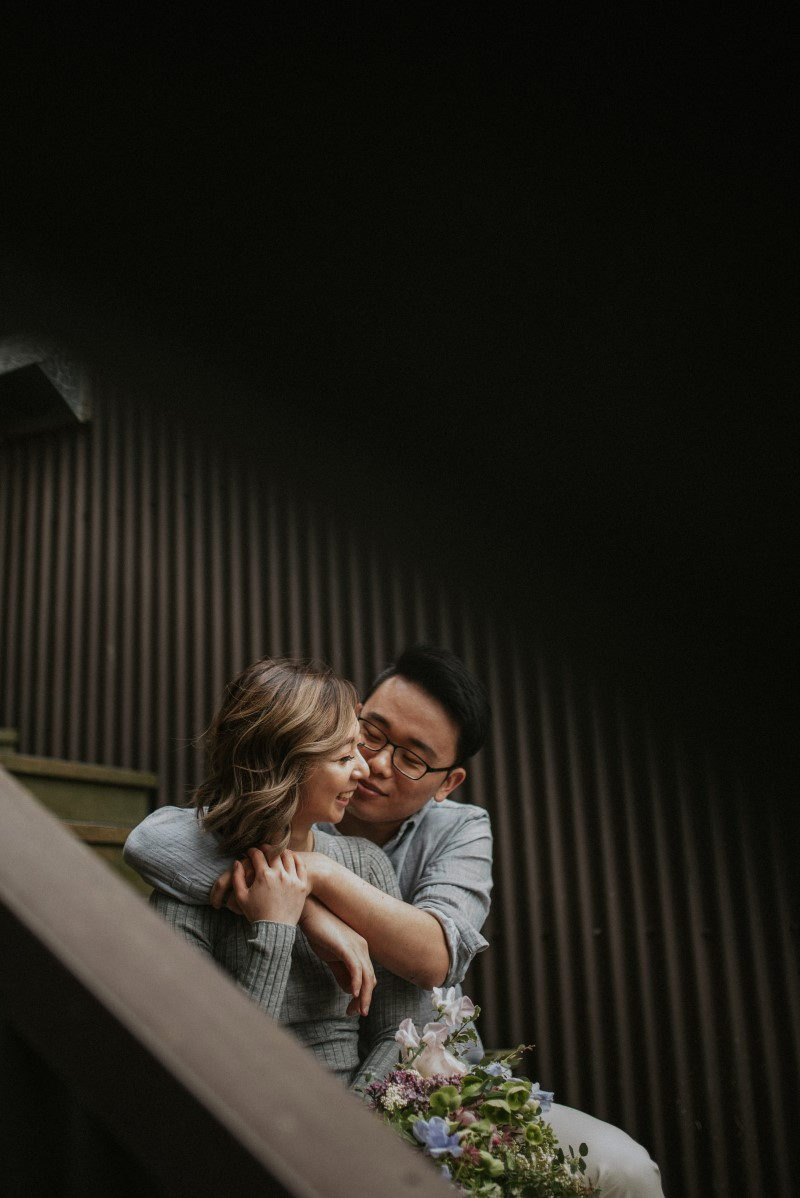 Vancouver Couple Canoodle on the Staircase