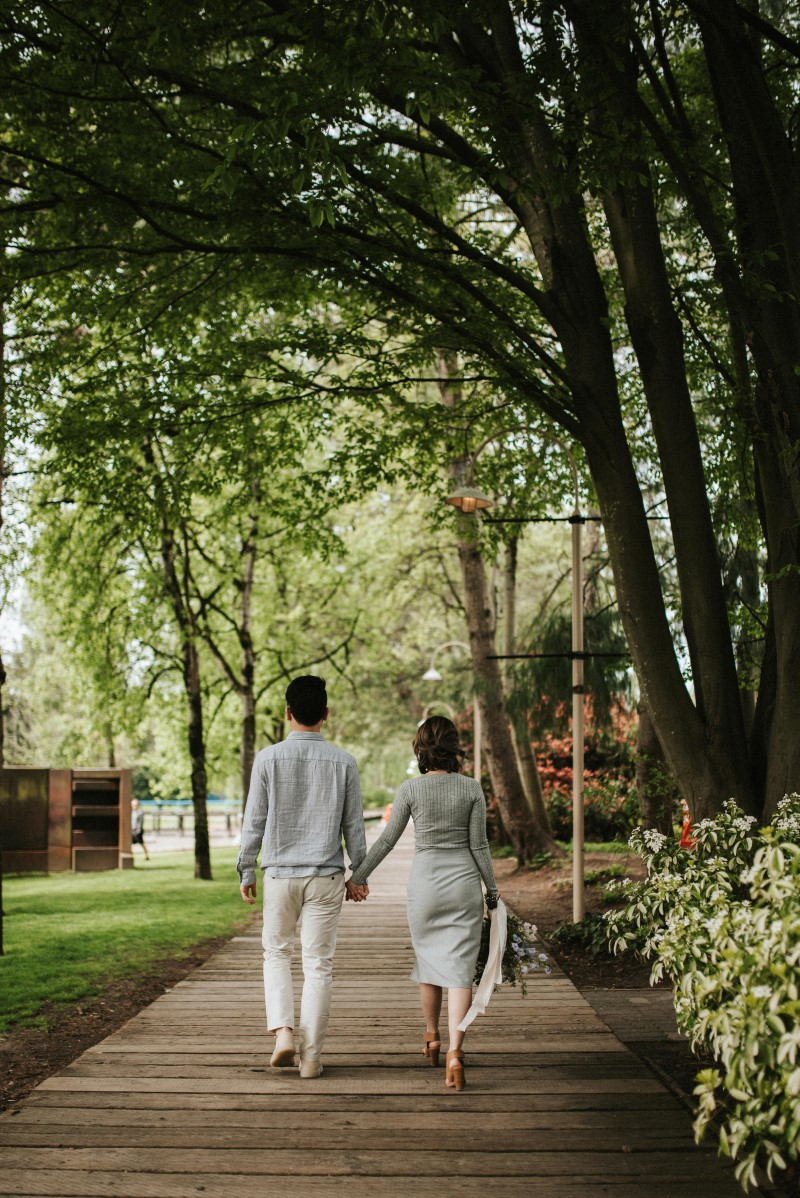 Vancouver Engaged Couple Holding Hands in the Park
