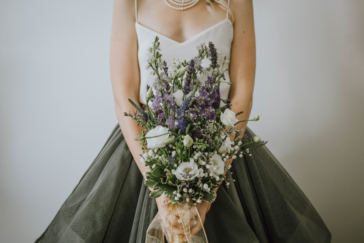 Bridal Bouquet of larkspur and white roses