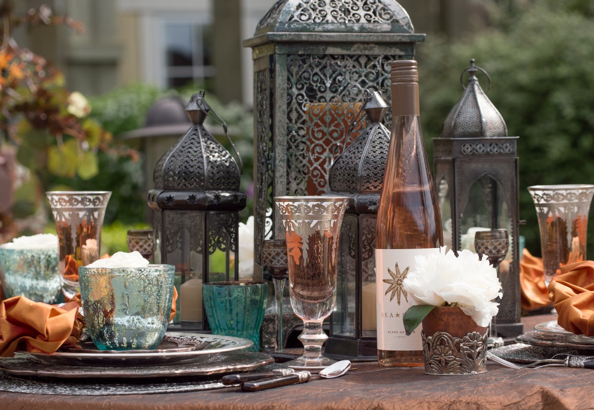 Large Moroccan Lantern Table Centerpiece with Pewter Glasses