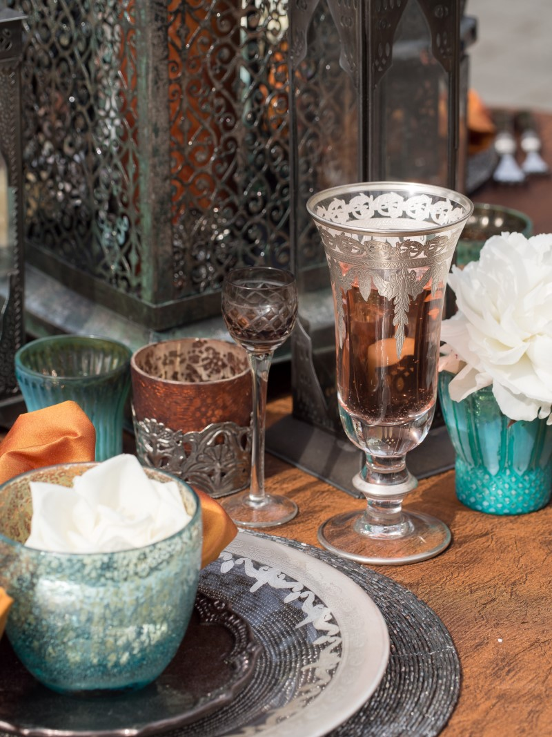 Pewter wine glasses with tea tea lights Chintz and Company