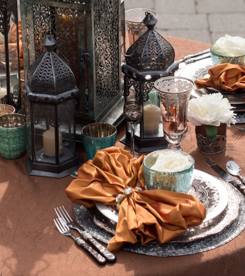 Burnt Orange on Pewter Dishes with Moroccan Lanterns
