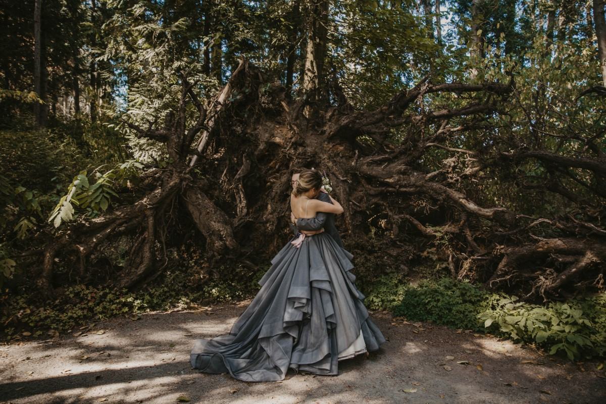 Bride wearing blue gown in Forest on Vancouver Island