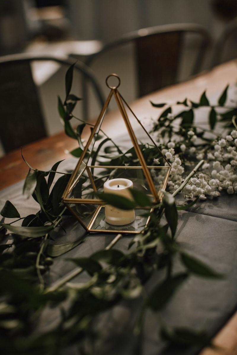 West Coast Wedding Decor Italian Ruscus and Metal Triangle Candle Holder