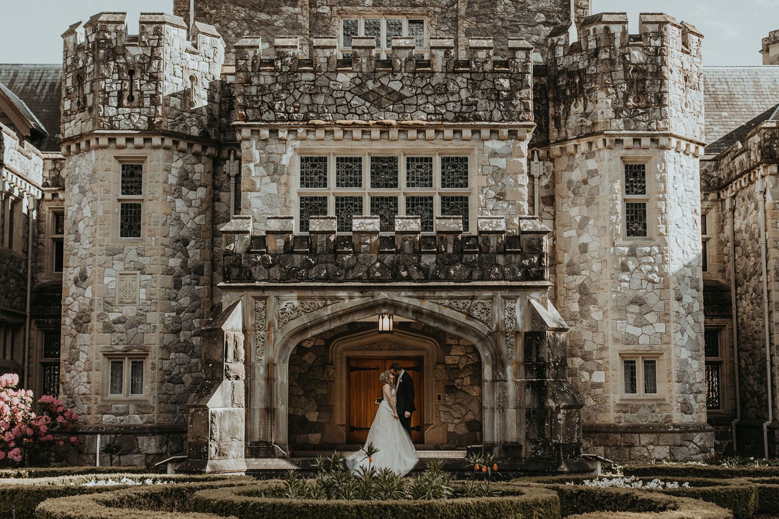 Hatley Castle Entrance with Newlyweds on Vancouver Island Secret Waters Photography