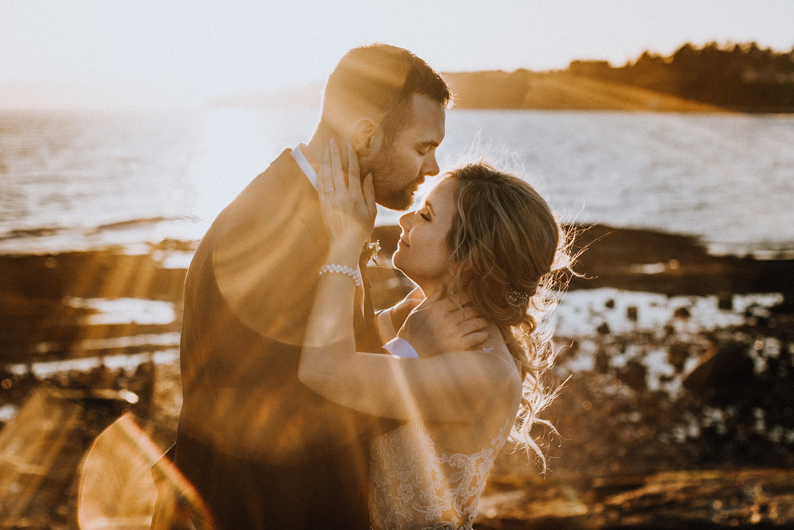 Newlyweds at Sunset at Hatley Castle