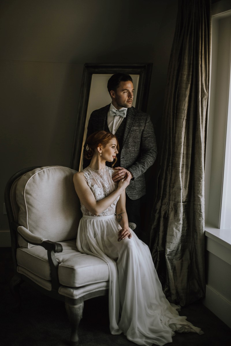 Sophisticated Newlyweds portrait Myrtle and Moss Photography
