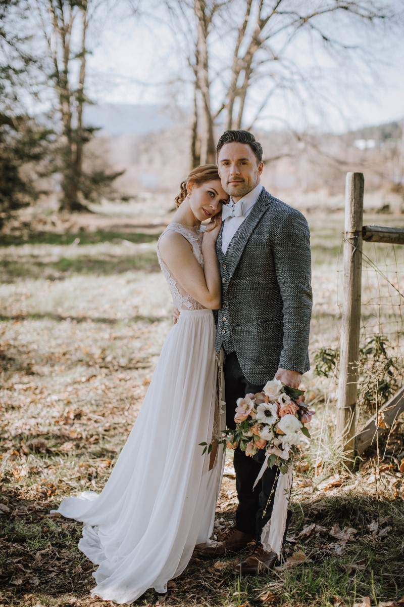 Newlywed Portrait in field of grass on Vancouver Island