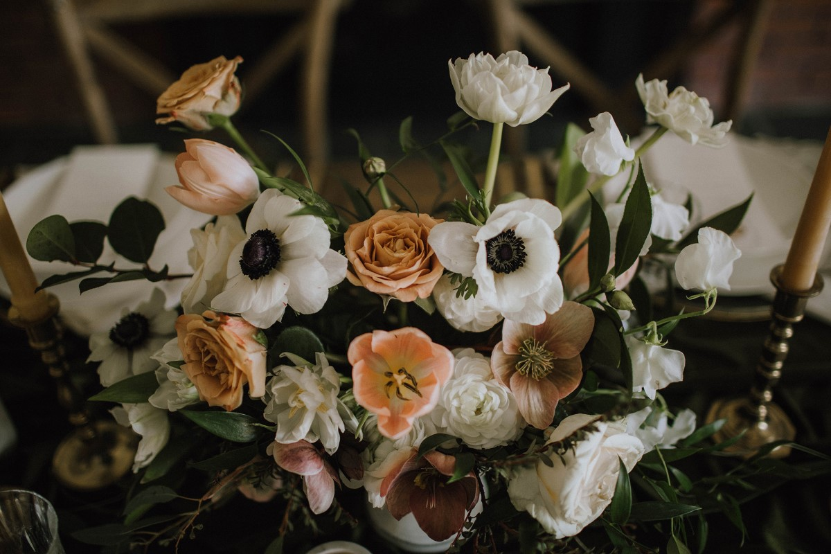 Bridal Bouquet of white anemone and peach roses with ribbons