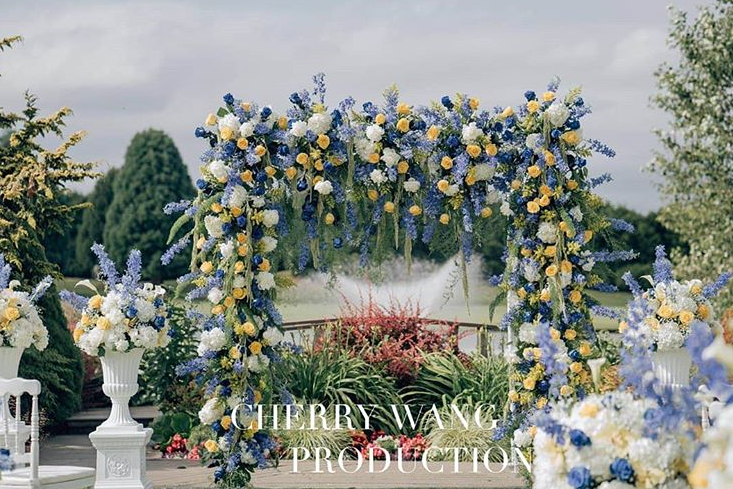 Blue and yellow floral display for Chinese Wedding in Vancouver