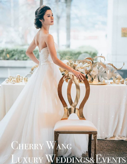 Bride in tiara Cherry Wang Weddings