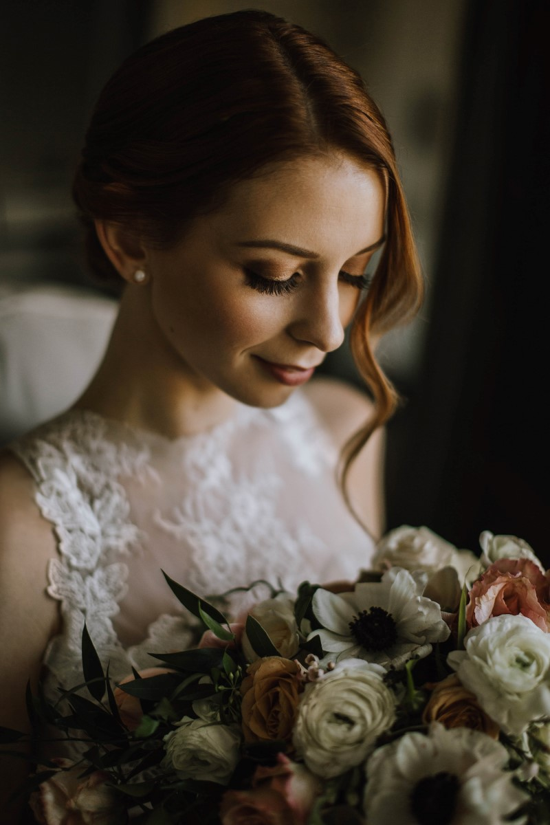 Sophisticated Bride with Anemone Bouquet by Myrtle and Moss Photography