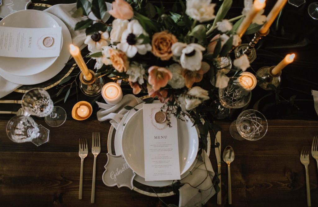 Sophisticated Reception Decor with Anemones and Peach Roses by Fleur de Lil Vancouver Island Weddings