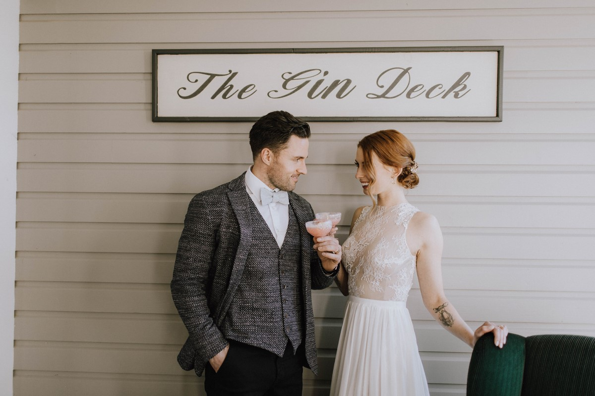 charming garden wedding with gin deck at Maple Bay Manor