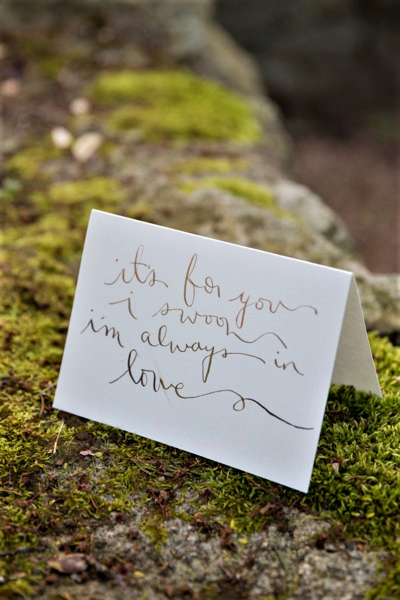 Love Note sits on moss in the forest White Album Photography
