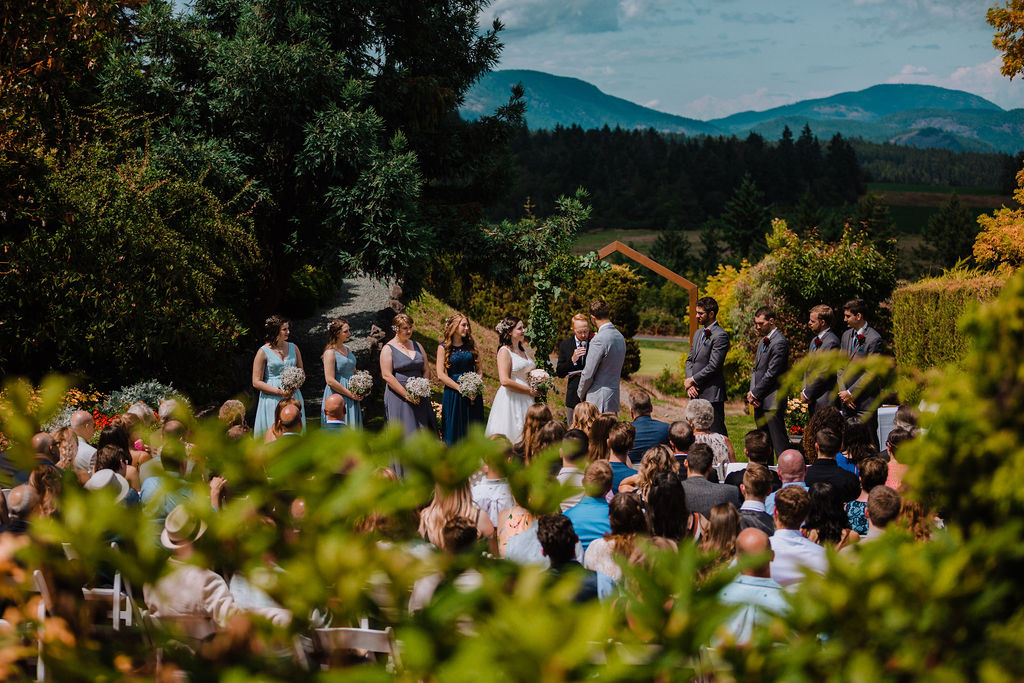 Happily Ever After Ceremony in Arbutus Ridge Golf Club Garden on Vancouver Island