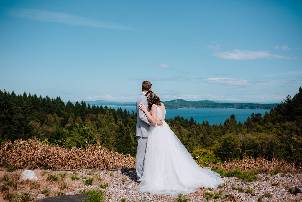 Happily Ever After Bride and Groom along ocean on Vancouver Island
