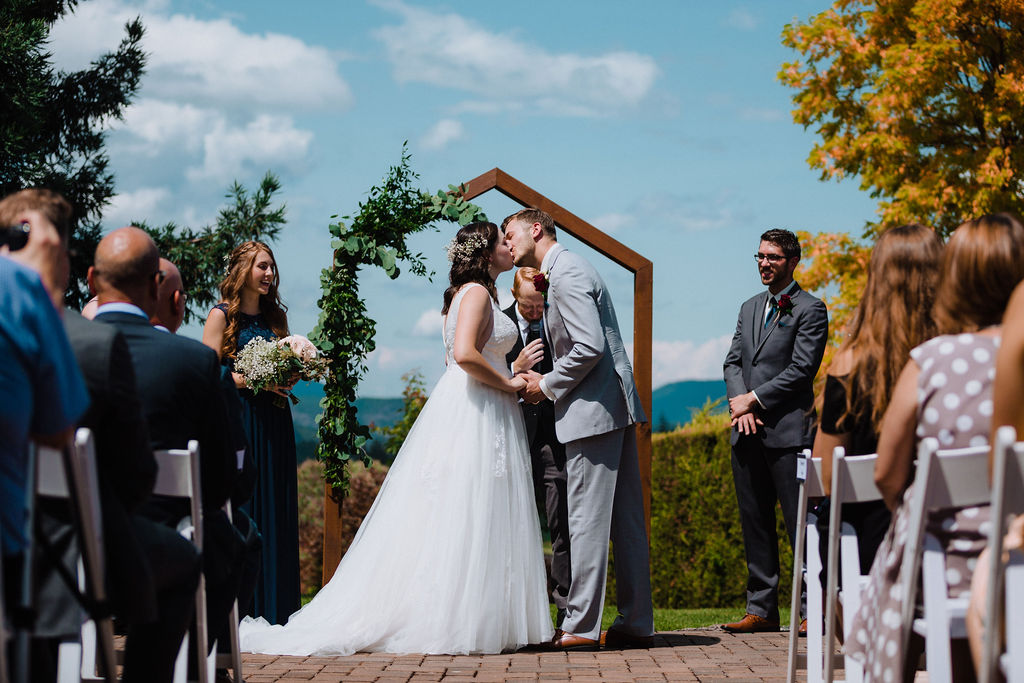Happily Ever After newlyweds kiss