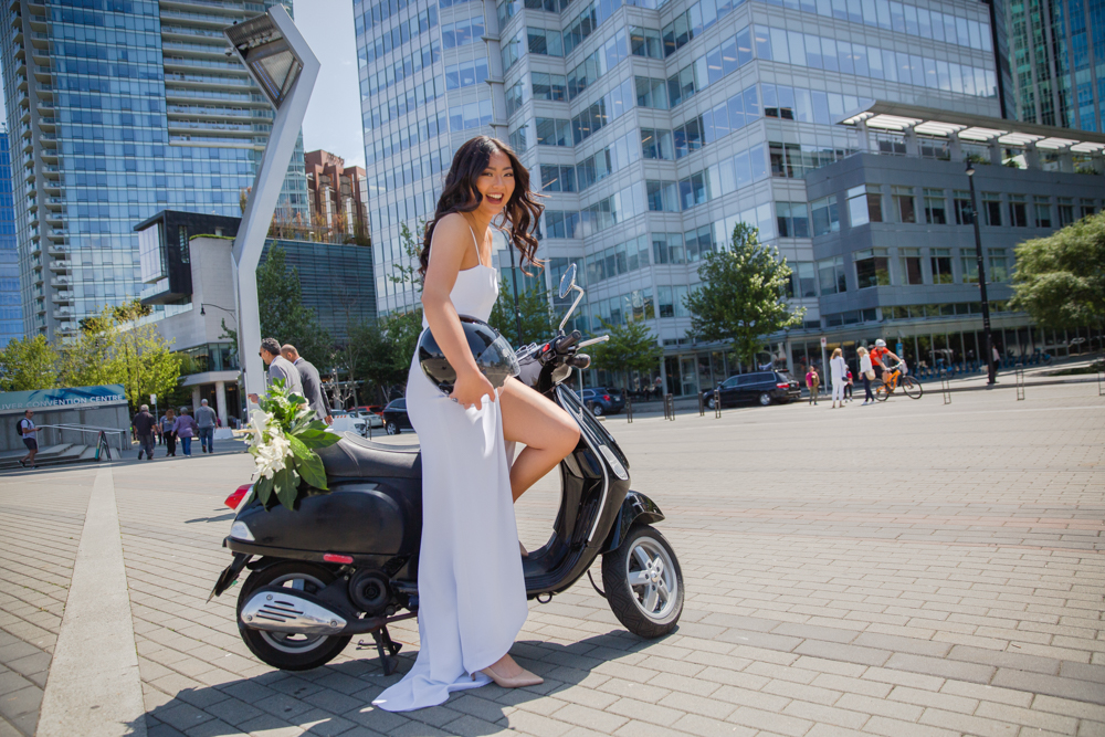 City Chic Bride on Bike in Downtown Vancouver