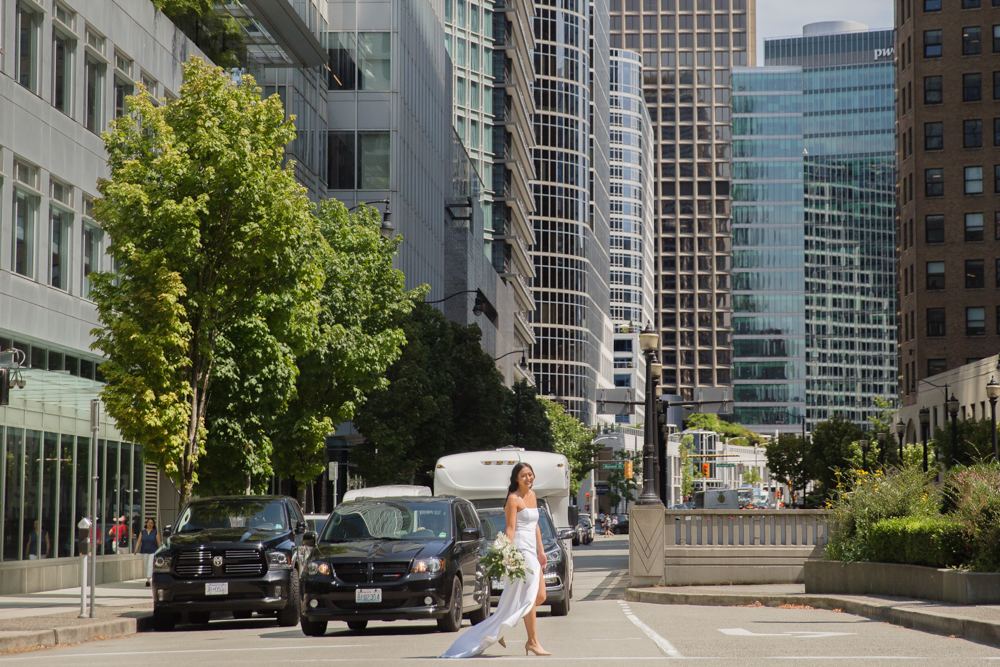 City Chic Bride in front of Vancouver skyscrapers