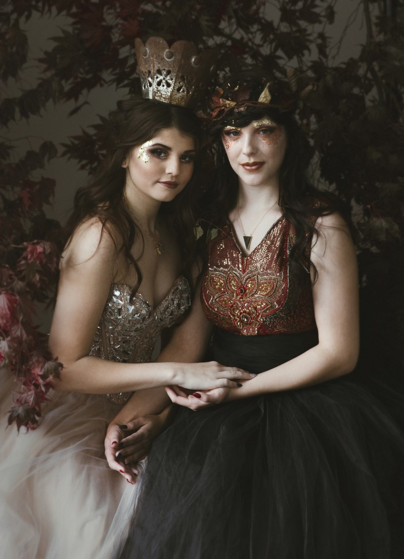 Bridal shoot with medieval gowns and crowns