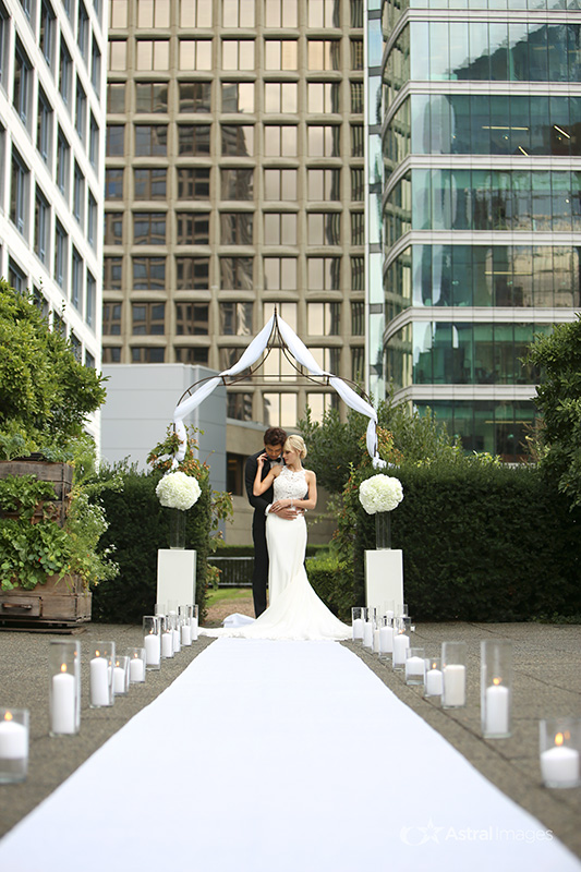 Newlyweds at Vancouver Fairmont Waterfront Ceremony